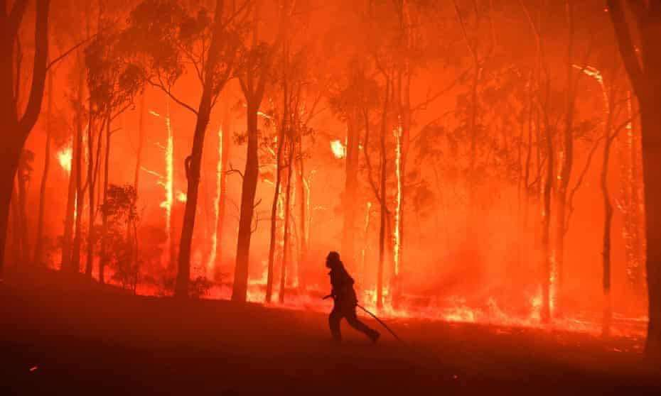 australian bushfire appeal - single man fighting fire